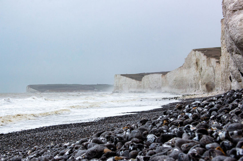 Stormy waves Beauty In Nature Landscape Landscape Photography Nature Pebble Beach Rough Sea Seafront Seven Sisters Stormy Weather Travel Destinations White Cliffs  Winter Chalk