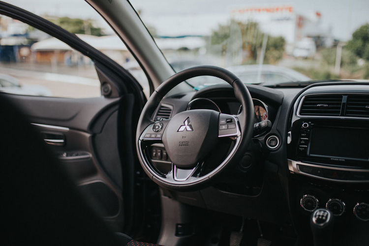 Car Car Interior Close-up Dashboard Day Land Vehicle Mitsubishi Mode Of Transport No People Outdoors Speedometer Steering Wheel Transportation Vehicle Interior