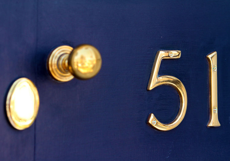 Fifty One 51 Brass Door Door Handle Fifty One Gold Colored Keyhole No People Numbers
