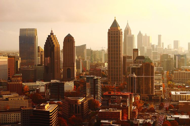 Fall city sunset Skyscraper Cityscape City Urban Skyline Architecture Modern Building Exterior Tower Travel Destinations City Life Growth Outdoors Sky Day Majestic Aviationphotography Aerialview Sunset ATL Atlanta, Georgia Illuminated Tall - High Aviation Photography Downtown District Cityscape