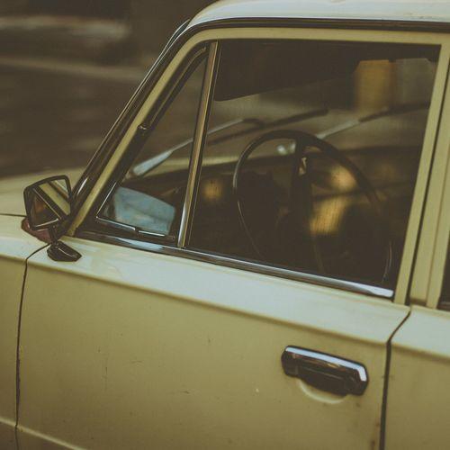 Close-up of vintage car window
