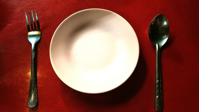 Crockery Fork Eating Utensil Spoon Close-up Empty Plate Day Lifestyle Model