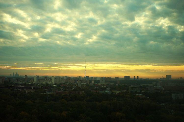 Ostankinotvtower Ostankino Television Tower Ostankino Moscow Sunrise Fujifilm_xseries Sky Cloud - Sky Architecture Building Exterior City Built Structure Cityscape Sunset