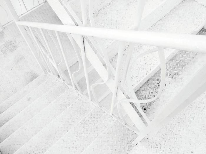 High angle view of metallic steps