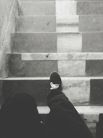 Low section of man on staircase