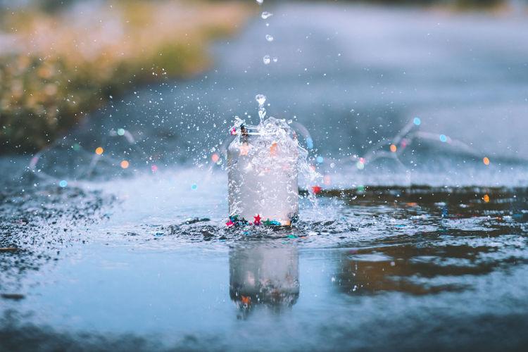 Close-up of splashing water on street