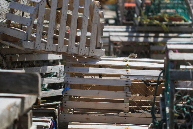 Lobster traps on sunny day
