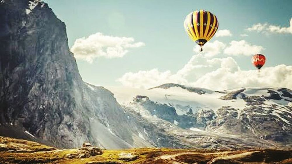 Mountain Landscape Adventure Hot Air Balloon Extreme Sports Cloud - Sky Mountain Range Rock - Object High Up Mountain Peak Sky Outdoors Vacations People One Person Day Only Men Adults Only One Man Only Adult