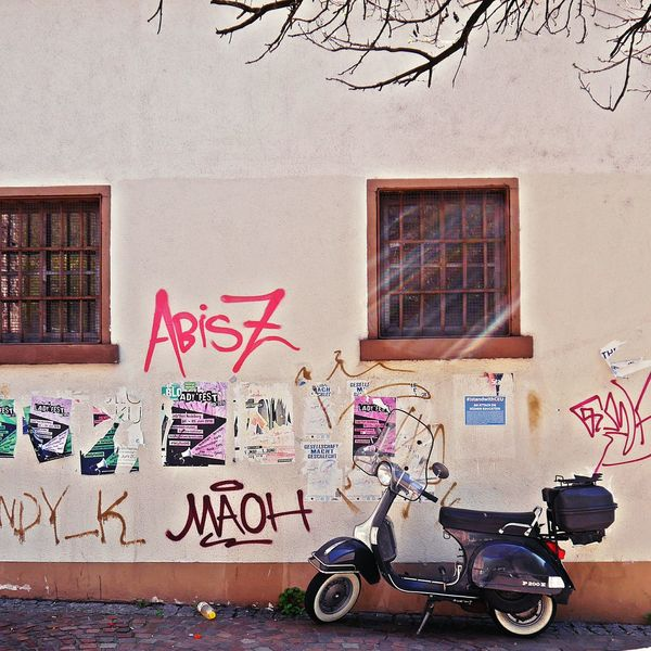 Transportation No People Architecture Streetphotography EyeEm Gallery TheWeekOnEyeEM EyeEmNewHere Urban Geometry Architecture Photography Facades And Light EyeEm Germany Rural Scene Vintage Detached House Minimalist Minimalism_bw Minimalmood Stencil_stuff Stencilart Graffiti Street Art Stencil Vespa Vespavintage Vespaspotting