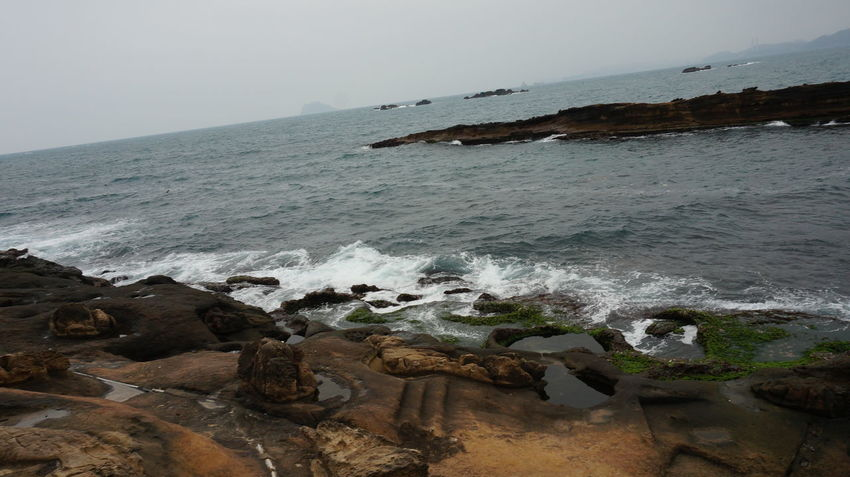 Taipei,Taiwan Yeliu Beauty In Nature Day Horizon Over Water Nature No People Outdoors Rock - Object Scenics Sea Sky Tranquil Scene Tranquility Water Wave Yeliugeopark 臺灣 野柳 野柳地質公園
