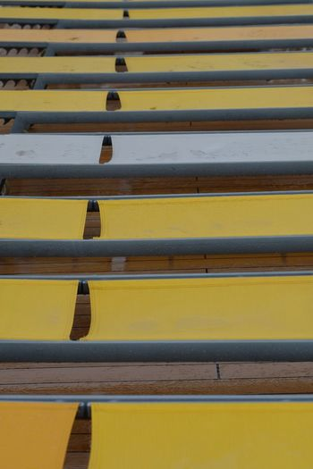 Yellow In A Row Full Frame No People Backgrounds Arrangement Day Outdoors Close-up Fuji X-t2 Better Look Twice Sun Chairs In The Rain Mein Schiff 3