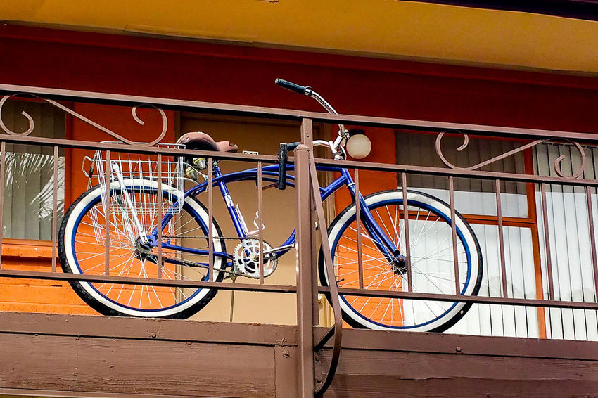 Adventure Awaits Arizona Balcony Bicycle Metal Old-fashioned Parked Photography Railing Reflection Ride Stationary Transportation Wheel