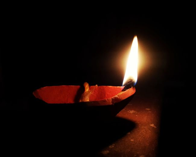 Light And Darkness  Diwali Lights Earth Lamp