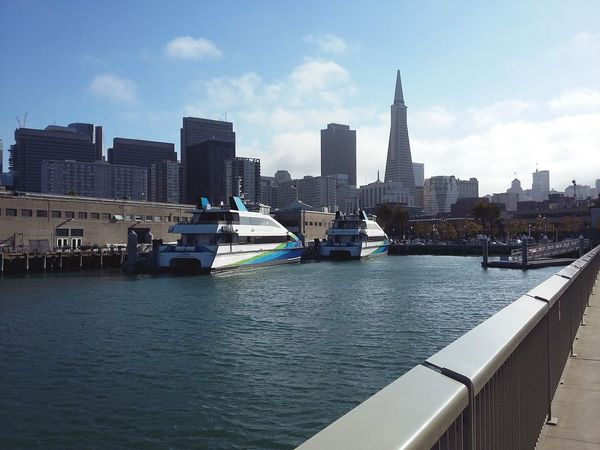 San Francisco Skyline from one of the Piers. · SF California CA USA Cityscape Urban Landscape Urban Skyline Architecture Skyscrapers Highrises Travel Destinations Waterfront Pier Boats Blue Sky Beautiful Day 😘