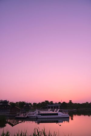 Lake Water Sunset Pink Color Standing Water Water's Edge Sky Outdoors Beauty In Nature