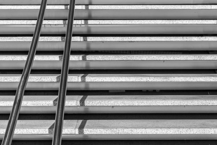 Black And White Steps And Staircases Steps Stairs Stair Minimalism Minimal Minimalistic Krull&Krull Minimalistic Railing Light And Shadow No People Metal Backgrounds Pattern Full Frame Close-up Architecture In A Row Day Repetition Outdoors Window Blinds Built Structure Protection Nature Sport Steel
