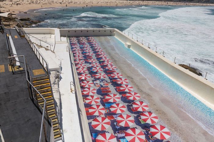 Aerial View Australian Landscape Beachumbrella Beachumbrellas Bondiicebergs Day High Angle View Icebergs Industry Nature No People Outdoors Sea Swimming Pool Thecitylight Water