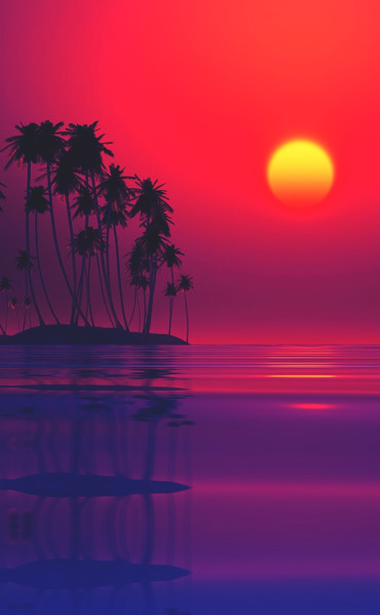 sunset, water, orange color, beauty in nature, scenics, tranquil scene, palm tree, sea, red, tranquility, horizon over water, sky, nature, idyllic, sun, reflection, silhouette, tree, beach, growth