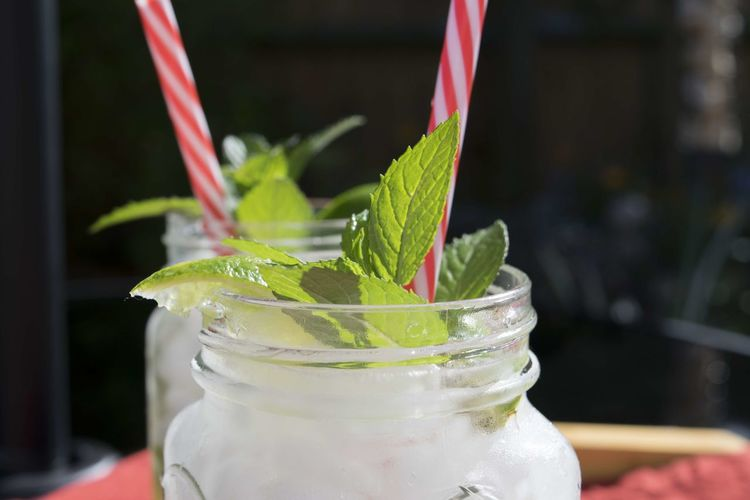Close-Up Of Mojito In Mason Jars