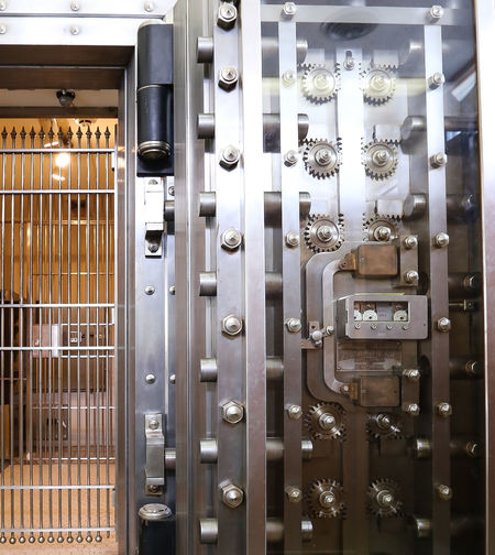 Bank vault close-up Security Bank Bank Interior Bank Vault Close-up Indoors  Machine Part Machinery Metal Steel