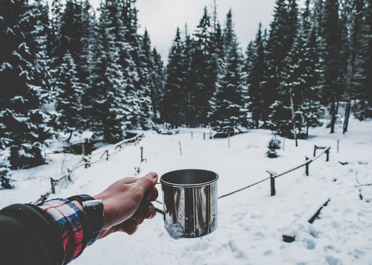 Cropped Hand Holding Mug On Snow Covered Field During Winter
