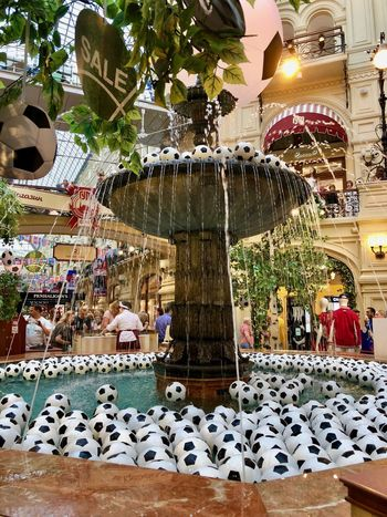 Fifa Football Fountain Moscow Russia Russia 2018 Amusement Park Amusement Park Ride Art And Craft Ball Decoration For Sale Gum Illuminated Incidental People Outdoors Retail  Retail Display Sport Store