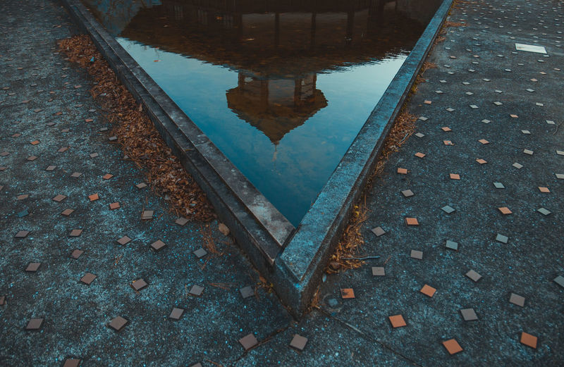 High angle view of puddle