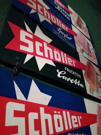 Schöller old sign advertising Wall Schöller Schoeller Reklame Advertise Advertising Old Vintage Retro Ice Ice Cream Text Day Communication No People Red Outdoors Close-up