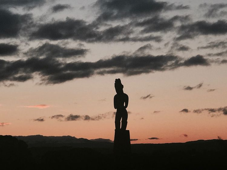 Sunset Statue Human Representation Silhouette Art And Craft Sky Male Likeness Sculpture Creativity Cloud - Sky Outdoors Nature Beauty In Nature Standing Landscape No People Day
