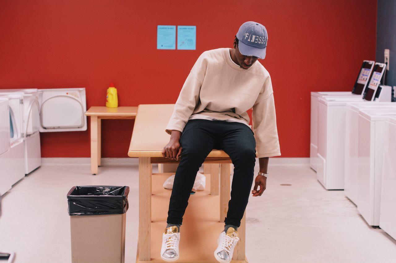 Full length of man in laundry