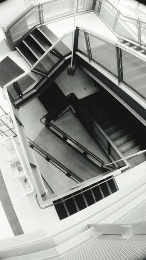 Embrace Urban Life Railing Architecture Indoors  High Angle View Steps And Staircases Urban Photography Black & White
