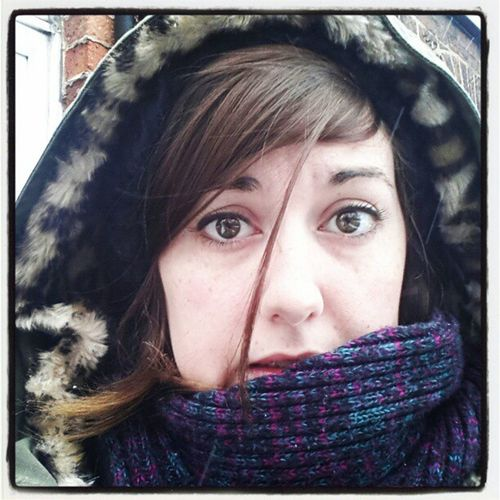My happy snow face Snow Snuggly Hat Coat Scarf NotHappy Cold Funny
