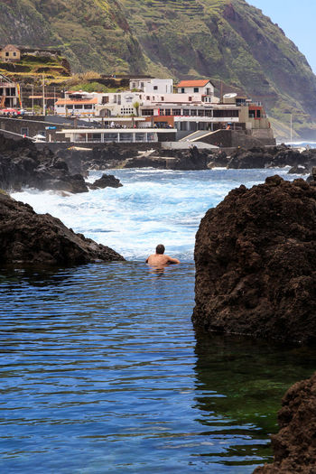 Madeira Island Natural Pool Water Sea Day Rock - Object Rock Nature Solid Waterfront Land Architecture People Leisure Activity Outdoors Shirtless Mountain Beach Men Motion