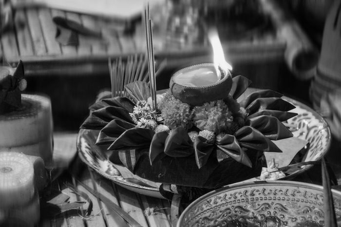 Loy Kratong Festival Thailand Belive Black And White Burning Candle Celebration Close-up Day Flame Flower Freshness Gift Handmade Indoors  No People