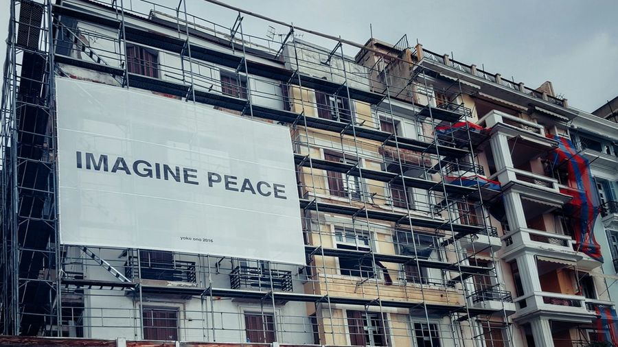 Imagine... 🌍☮!!! Image Peace Strong Message Billboard Building Exterior Under Construction... Low Angle View Lookingup Building Story Building Construction Work Poster Worldpeace Imagination World Peace Quote Exterior Architecture Architectural Feature ArchiTexture Text Textures And Surfaces Message Getting Inspired Motivated Adapted To The City