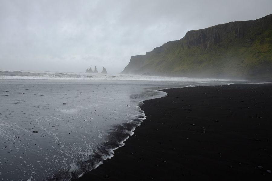 Sea Landscape Horizon Over Water Beach Waves Mist Fog Blacksand Cliff Mountain Blacksandbeach Betterlandscapes Vik Seastacks Reynisdrangar Iceland Miles Away Lost In The Landscape