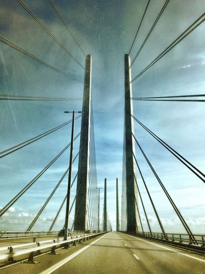 Bridges collection Transportation The Way Forward Bridge - Man Made Structure Bridge Architecture Sky Built Structure Road Marking Road Diminishing Perspective Engineering Vanishing Point Suspension Bridge Cloud Cable-stayed Bridge Steel Cable Day Cloud - Sky Long Sweden Denmark Border The Drive