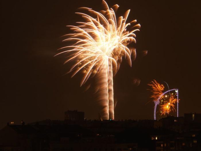 Barcelona Celebration Dark Exploding Firework - Man Made Object Firework Display Focs Focs Artificials Glowing Hotel Vela Illuminated Night Sky Sparks Two Towers VELA HOTEL