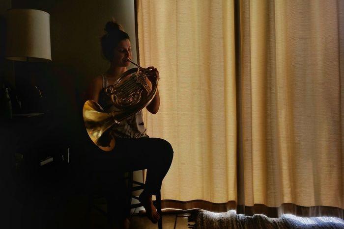 Fresh On Eyeem  Music Portrait Musician Practicing Dedication French Horn Brass Light And Shadow The Portraitist - 2016 EyeEm Awards 43 Golden Moments
