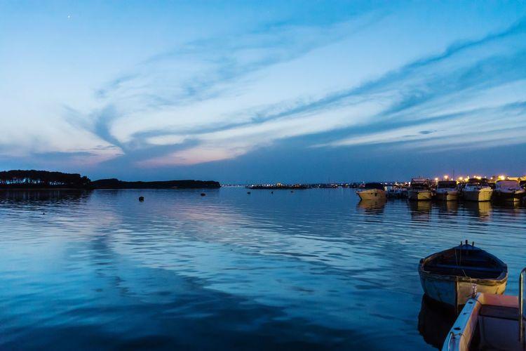 quiet evening in port Water Nautical Vessel Sea Sunset Harbor Blue Sky Architecture Cloud - Sky Landscape Archipelago Sailboat Sailing Horizon Over Water Calm Sailing Ship