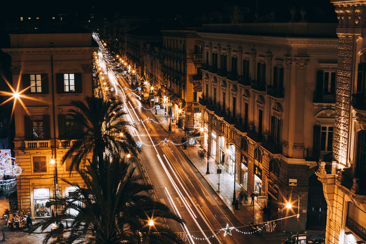 a long exposure from above HUAWEI Photo Award: After Dark Architecture Building Building Exterior Built Structure City City Life Illuminated Italy Light Trail Long Exposure Motion Night No People Road Speed Street Street Light Transportation Vscocam