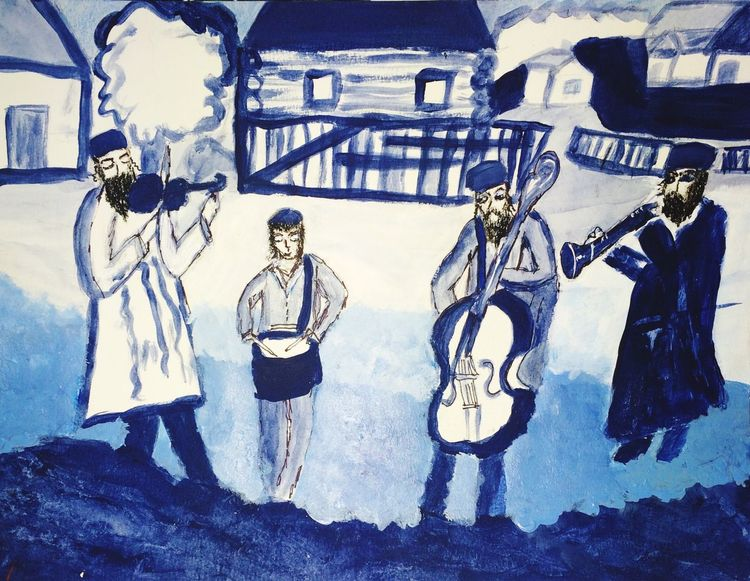 Shtetl, musicians , old country, blues, Yiddish, Jewish Artwork Painting