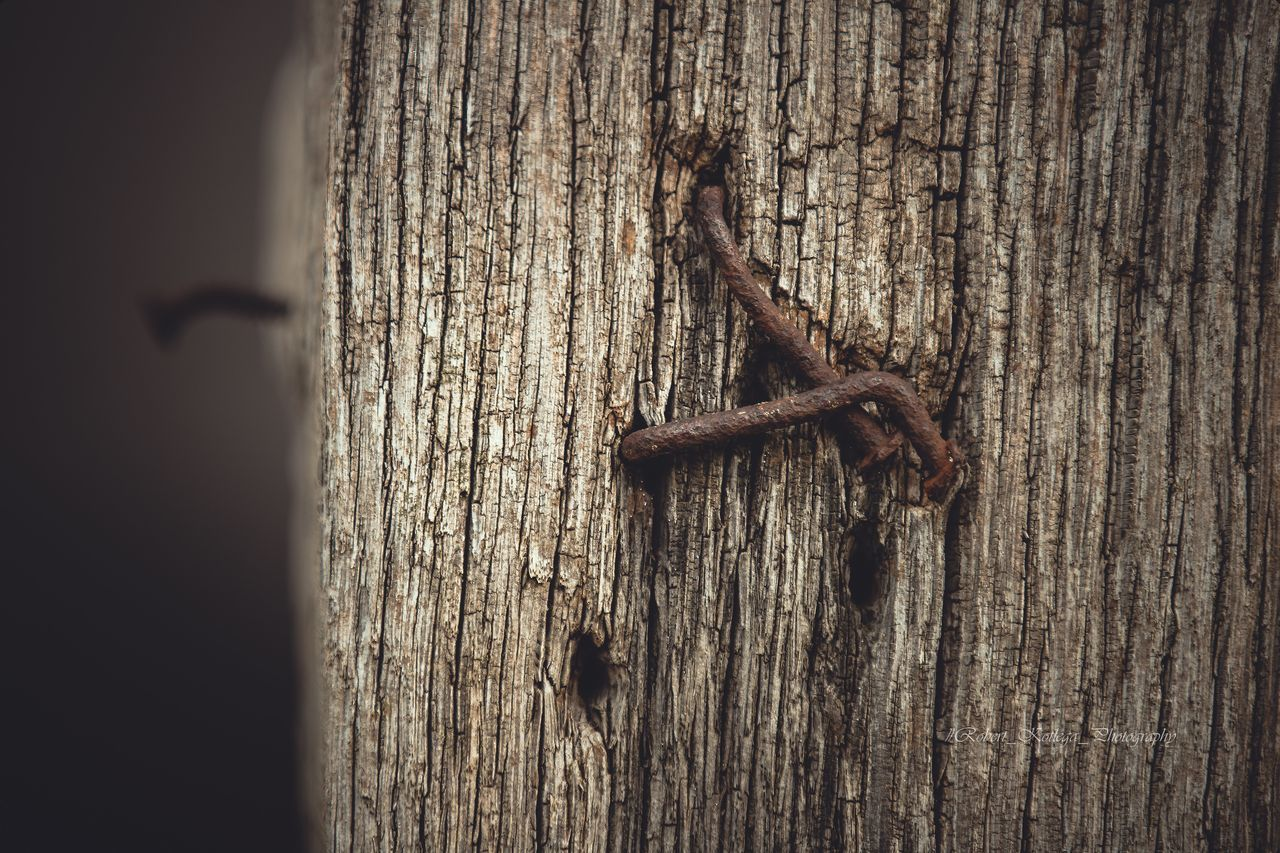 CLOSE-UP OF RUSTY METAL ON WOODEN POST