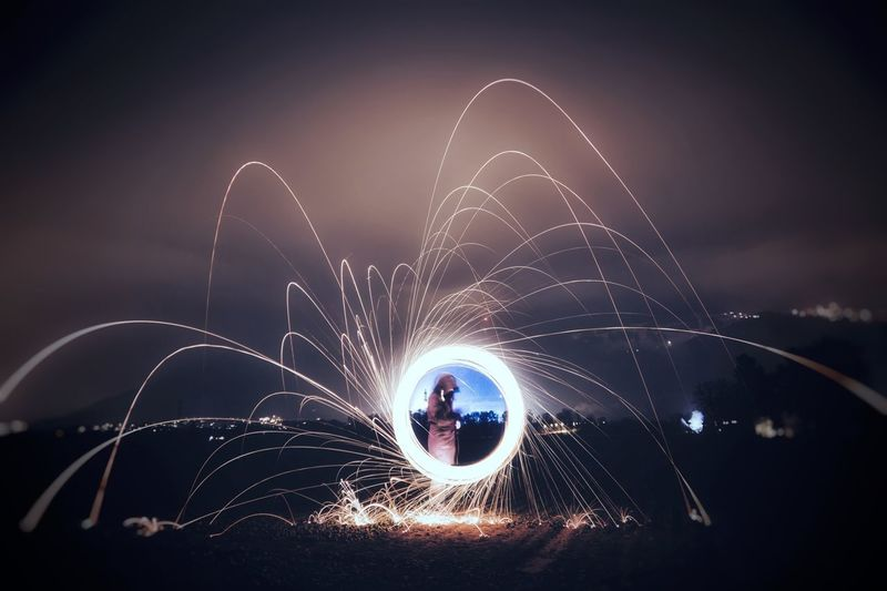 Wire wool at night