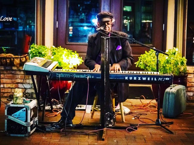 Musician Musical Instrument One Person Arts Culture And Entertainment Performance Singing Night Outdoors Pianist Street Performer