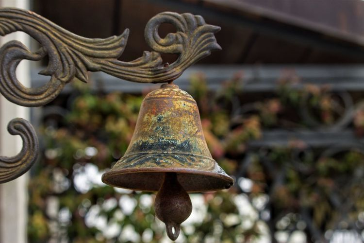 Belief Bell Close-up Creativity Day Design Focus On Foreground Hanging Low Angle View Metal Nature No People Old Ornate Outdoors Pattern Place Of Worship Plant Religion Rusty Spirituality