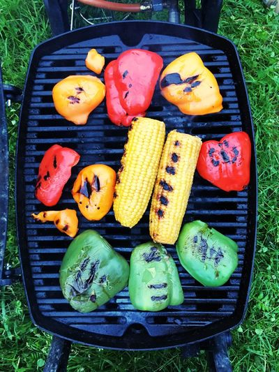 Barbecue Grill Food And Drink Directly Above Healthy Eating Vegetable Variation Outdoors Business Stories