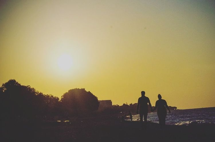 Sunset Silhouette Rear View Togetherness Two PeopleOutdoors Day Greece Beach Sky Beauty In Nature Beautiful Love Couple Sun Full Length Sea Lovely Cute Blue Sky Adult People Only Men Men Adults Only First Eyeem Photo