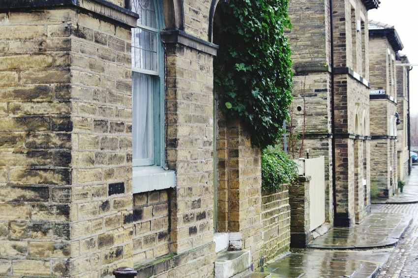 Built Structure Architecture Building Exterior Tree Day No People Outdoors Nature Ivy Houses Homes Architecture Rainy Day POV Tranquil Scene Landscapes Bradford Saltaire Cobbled Streets Mill Town Street Photography Street Scenics Bricks Corner