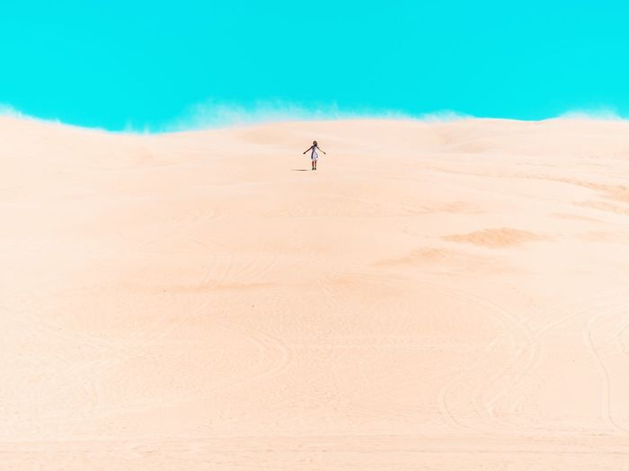 Man standing in desert